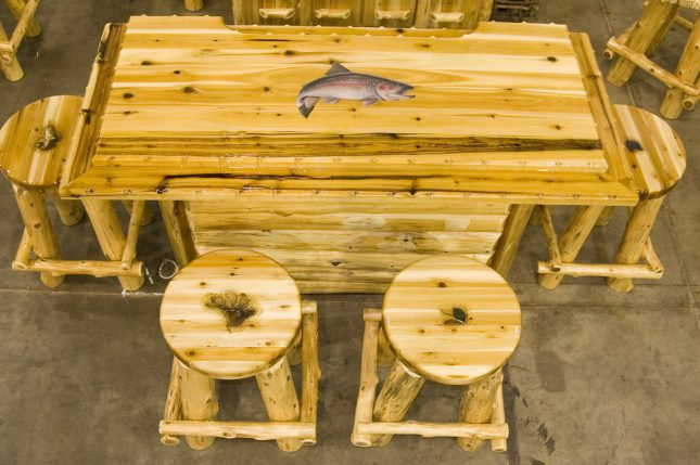 Handmade Log Furniture- BAR SET With Fish Image